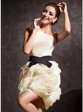 Sheath/Column One-Shoulder Short/Mini Cocktail Dresses With Ruffle Sash