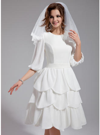 Fashion Knee-Length A-Line/Princess Wedding Dresses Scoop Chiffon