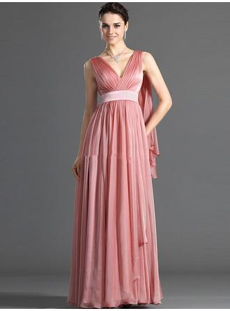Floor-Length Cocktail Dresses With Pleated