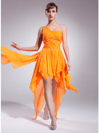 A-Line/Princess One-Shoulder Asymmetrical Chiffon Homecoming Dresses With Beading Cascading Ruffles