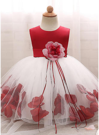 Tulle Scoop Neck Flower(s) Baby Girl's Christening Gowns With Sleeveless