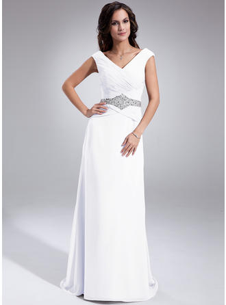 Chiffon Sleeveless Mother of the Bride Dresses Off-the-Shoulder A-Line/Princess Ruffle Beading Sequins Sweep Train
