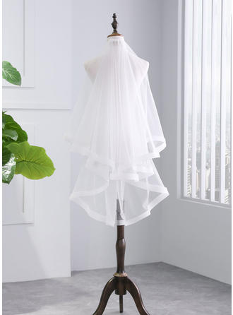 Two-tier Ribbon Edge Fingertip Bridal Veils With Ribbon (006141338)