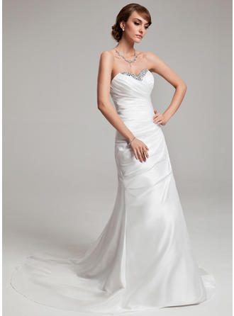 Luxurious Court Train A-Line/Princess Wedding Dresses Sweetheart Taffeta Sleeveless