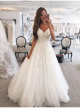 Newest Tulle Wedding Dresses A-Line/Princess Floor-Length Sweetheart Sleeveless