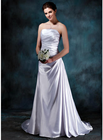 Stunning Sweep Train A-Line/Princess Wedding Dresses Strapless Charmeuse Sleeveless