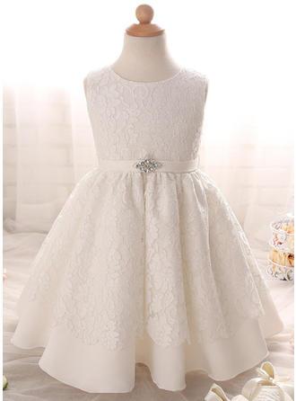 Satin Scoop Neck Rhinestone Baby Girl's Christening Gowns With Sleeveless