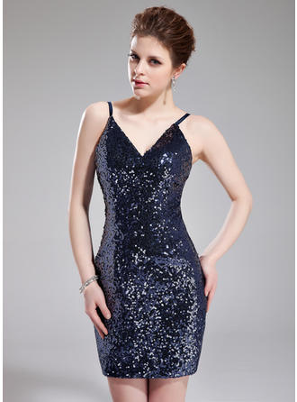 Sheath/Column V-neck Short/Mini Sequined Cocktail Dress