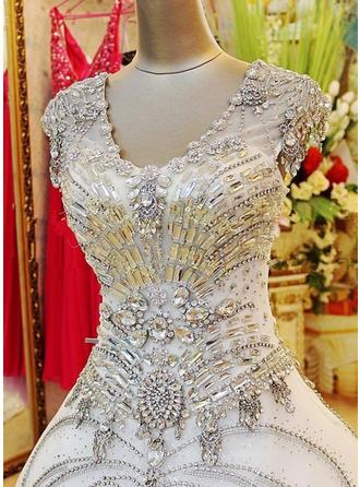 ثوب حفلة الطول الأرضي ذيل شابيل فستان الزفاف مع مطرز بالخرز ترتر