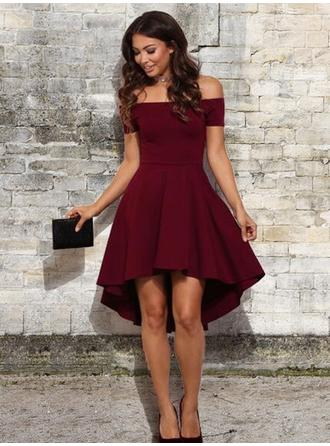 A-Line/Princess Stretch Crepe Cocktail Dresses Ruffle Off-the-Shoulder Short Sleeves Asymmetrical (016218460)
