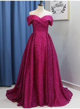 Sequined Modern Ball-Gown Sweep Train Prom Dresses