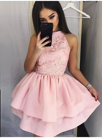 Gorgeous Satin Sleeveless High Neck Ruffle Appliques Homecoming Dresses