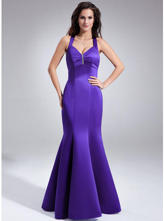Trumpet/Mermaid Satin Bridesmaid Dresses Ruffle Beading V-neck Sleeveless Floor-Length