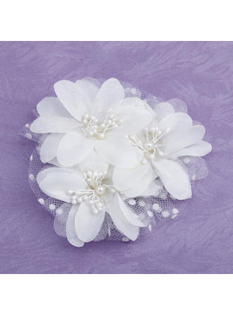 "Flowers & Feathers Wedding/Special Occasion/Casual/Outdoor Imitation Pearls/Satin/Tulle 3.94""(Approx.10cm) 3.15""(Approx.8cm) Headpieces"