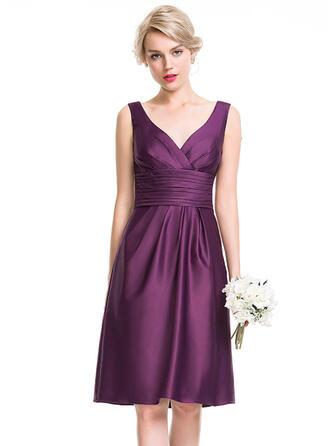 A-Line/Princess V-neck Knee-Length Satin Bridesmaid Dress With Ruffle
