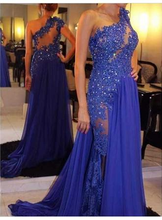 A-Line/Princess One-Shoulder Chiffon Sleeveless Court Train Beading Appliques Lace Evening Dresses