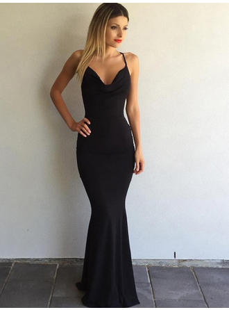 Jersey Sleeveless Trumpet/Mermaid Prom Dresses V-neck Sweep Train