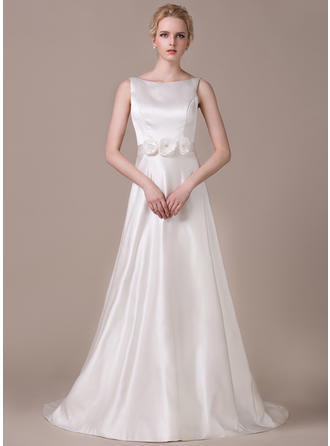 Princess Court Train A-Line/Princess Wedding Dresses Scoop Satin Sleeveless
