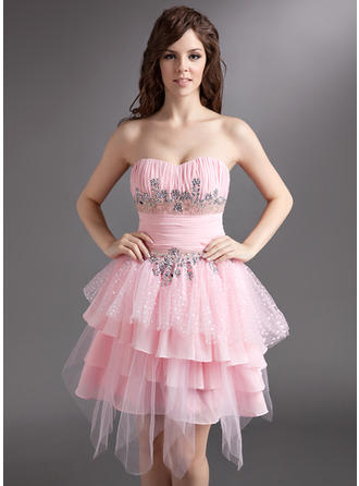 A-Line/Princess Chiffon Tulle Prom Dresses Ruffle Beading Sweetheart Sleeveless Knee-Length