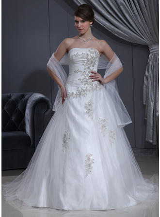 Ball-Gown Chapel Train Wedding Dress With Ruffle Beading Appliques Lace