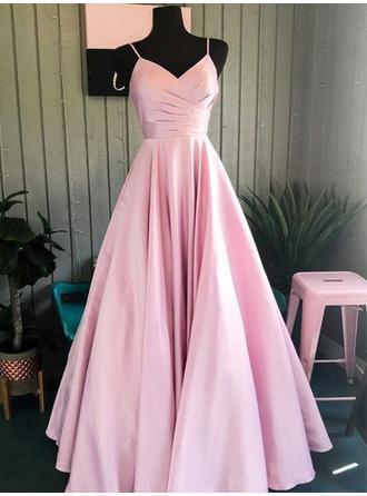Floor-Length Spaghetti Straps Satin A-Line/Princess Prom Dresses (018219389)