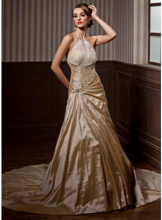 A-Line/Princess Chapel Train Wedding Dress With Ruffle Beading