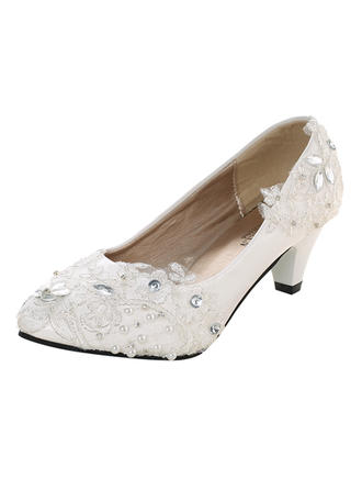 Women's Closed Toe Pumps Leatherette Patent Leather With Rhinestone Satin Flower No Wedding Shoes