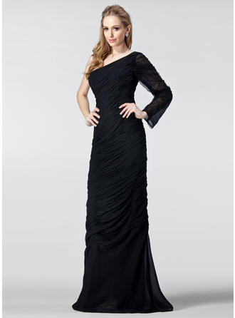 Sheath/Column One-Shoulder Chiffon Long Sleeves Floor-Length Ruffle Evening Dresses