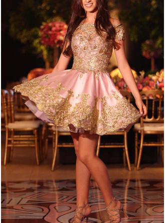 Appliques A-Line/Princess Short/Mini Satin Homecoming Dresses
