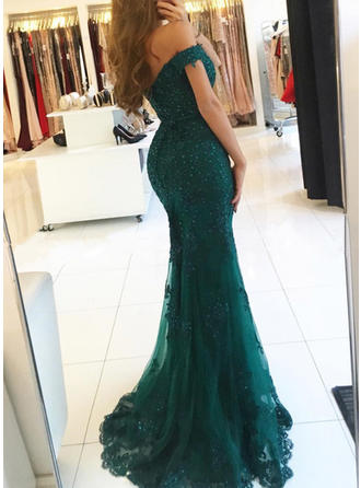 Trumpet/Mermaid Off-the-Shoulder Sweep Train Tulle Lace Evening Dresses With Beading Sequins