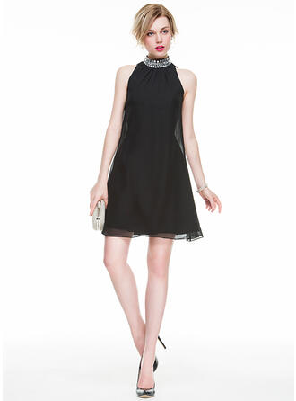 A-Linie/Princess-Linie High Neck Kurz/Mini Chiffon Cocktailkleid mit Perlstickerei Pailletten