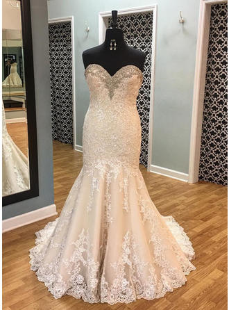 Elegant Lace Wedding Dresses Trumpet/Mermaid Court Train Sweetheart Sleeveless