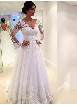 Flattering Tulle Wedding Dresses A-Line/Princess Chapel Train V-neck Long Sleeves