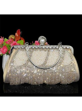 "Clutches/Wristlets Wedding/Ceremony & Party/Casual & Shopping Crystal/ Rhinestone/Polyester/Imitation Pearl Shining 9.45""(Approx.24cm) Clutches & Evening Bags"