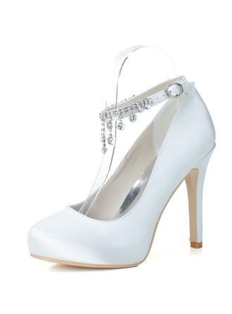 Women's Closed Toe Pumps Stiletto Heel Satin With Rhinestone Tassel Wedding Shoes