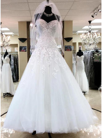 Floor-Length Beading Appliques Sequins Sweetheart With Tulle Wedding Dresses