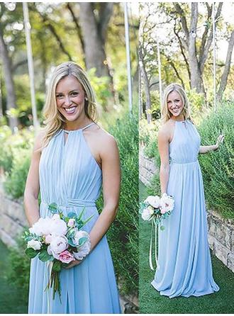 A-Line/Princess Sleeveless Halter Chiffon Floor-Length Bridesmaid Dresses