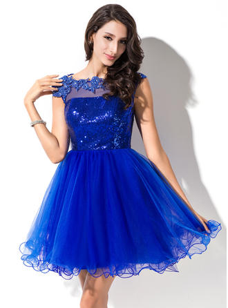 Newest Tulle Sequined Prom Dresses A-Line/Princess Short/Mini Scoop Neck Sleeveless