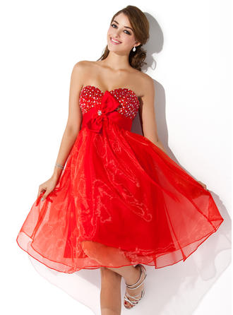 Empire Sweetheart Knee-Length Organza Homecoming Dresses With Beading Flower(s) Bow(s)