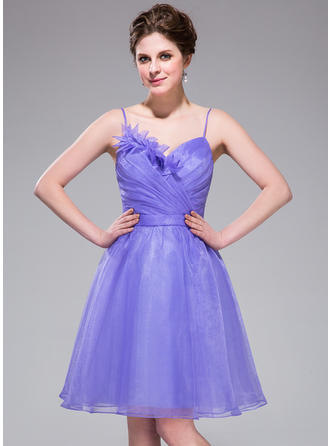 Chic Organza Sleeveless Sweetheart Ruffle Flower(s) Homecoming Dresses