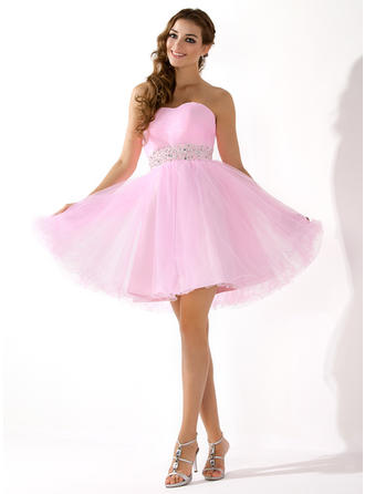 Chic Short/Mini A-Line/Princess Wedding Dresses Sweetheart Tulle Sleeveless