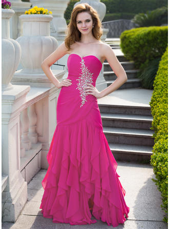 Chiffon Sleeveless Trumpet/Mermaid Prom Dresses Sweetheart Beading Cascading Ruffles Floor-Length