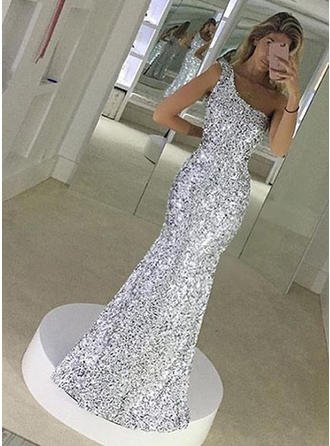 Luxurious Sequined General Plus Trumpet/Mermaid Sequined One-Shoulder Prom Dresses
