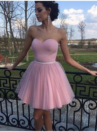 A-Line/Princess Ruffle Tulle Homecoming Dresses Sweetheart Sleeveless Short/Mini