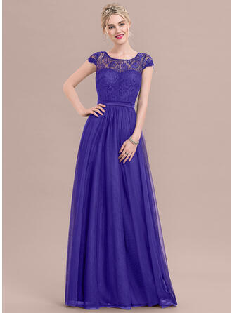 A-Line Scoop Neck Floor-Length Tulle Lace Bridesmaid Dress With Bow(s)