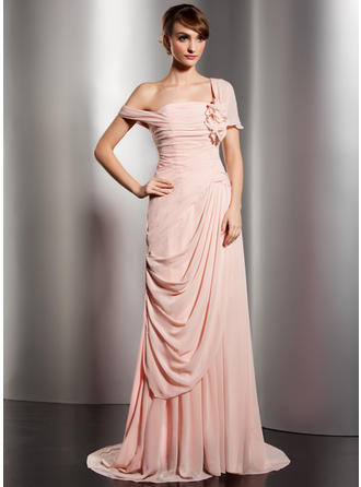 Sexy Chiffon A-Line/Princess Zipper Up Covered Button Evening Dresses