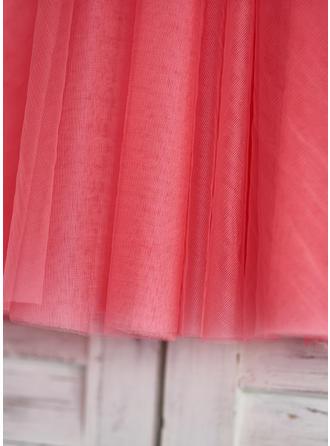 Mode Knielang A-Linie/Princess-Linie Blumenmädchenkleider U-Ausschnitt Tüll/Lace Ärmellos (010210124)