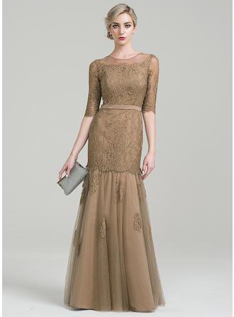 Trompete/Meerjungfrau-Linie U-Ausschnitt Bodenlang Tüll Spitze Kleid für die Brautmutter (008085302)