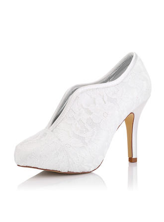 Женщины Кружева Атлас Высокий тонкий каблук Ботинки разукрашиваемая обувь