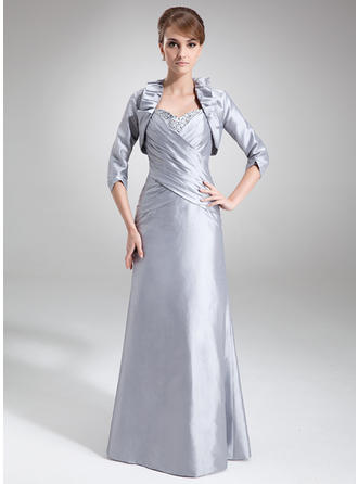Taffeta Sleeveless Mother of the Bride Dresses Sweetheart Sheath/Column Ruffle Beading Sequins Floor-Length
